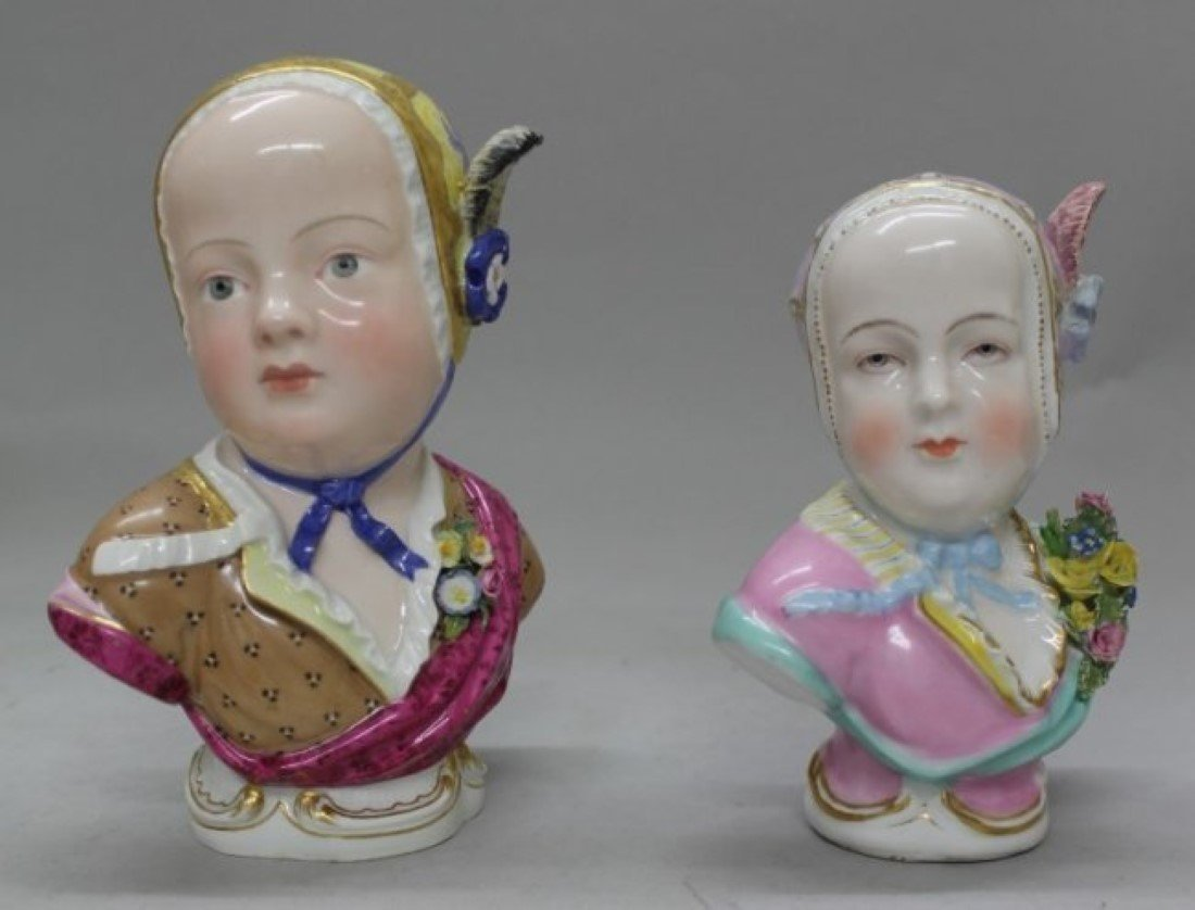 "6"" PAIR OF MEISSEN BUSTS OF LITTLE GIRLS"