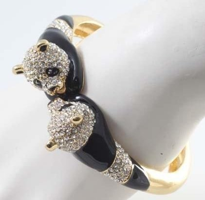 Delightful Two-Panda Crystal, Enamel and Gold tone
