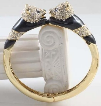 Delightful Two-Panda Crystal, Enamel and Gold tone - 2
