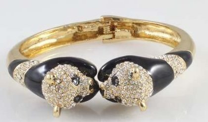 Delightful Two-Panda Crystal, Enamel and Gold tone - 3