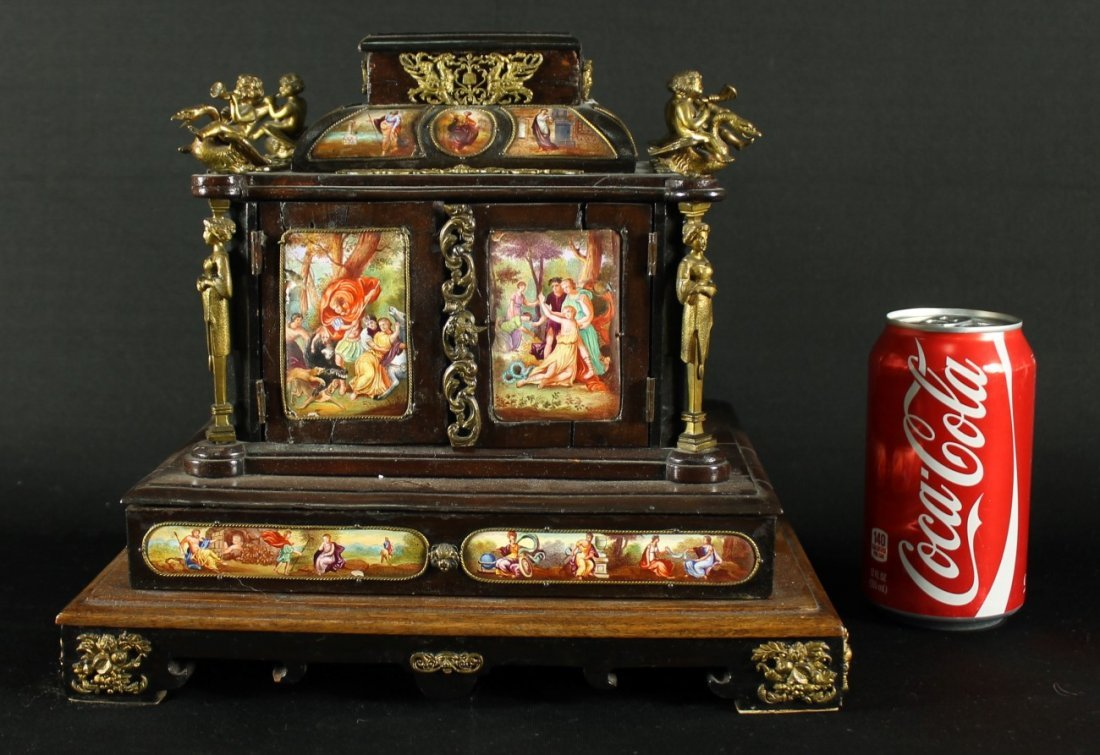 ANTIQUE 19TH CENTURY VIENNESE ENAMEL BRONZE CABINET BOX