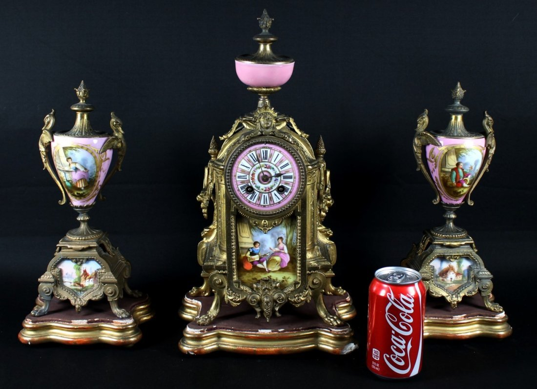 3 PC. FRENCH GILT-METAL AND PORCELAIN CLOCK GARNITURE