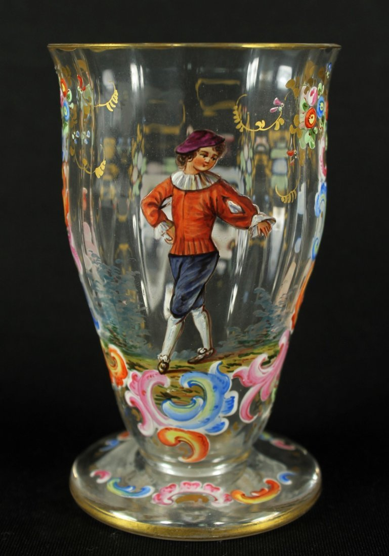 A Lobmeyr Tumbler With Similar Scene Of A Young Man