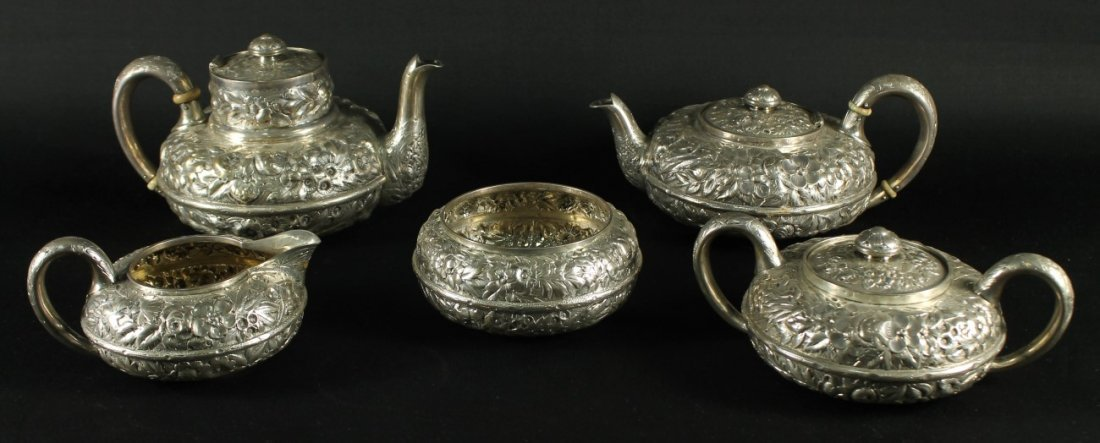 19TH CENTURY GORHAM ENGLISH SILVER STERLING 5 PIECE TEA