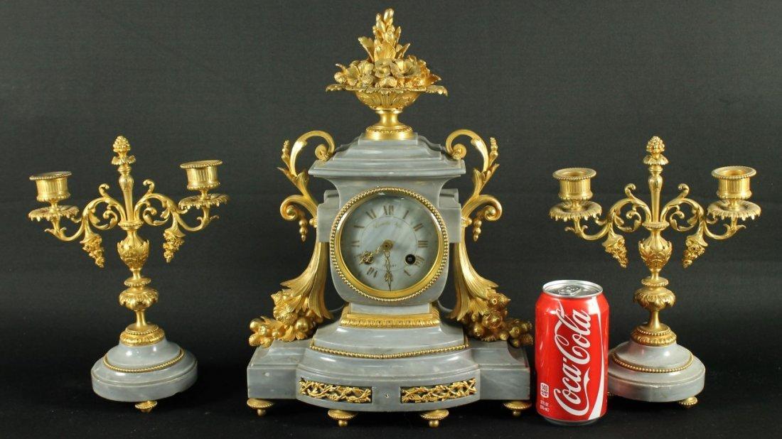 FRENCH LOIUS XVI STYLE DORE BRONZE & MARBLE CLOCKSET