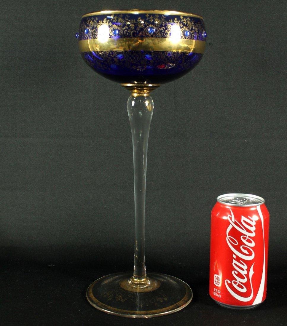TALL GILT COBALT GLASS GOBLET
