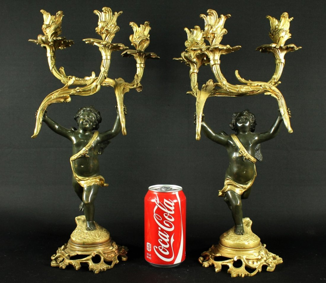 FRENCH DORE ORMOLU  GILT AND PAINTED BRONZE CANDELABRA