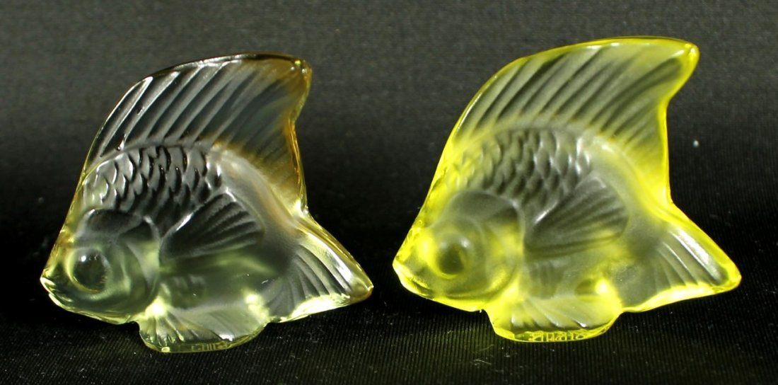 PAIR OF LALIQUE CRYSTAL FISH (YELLOW)