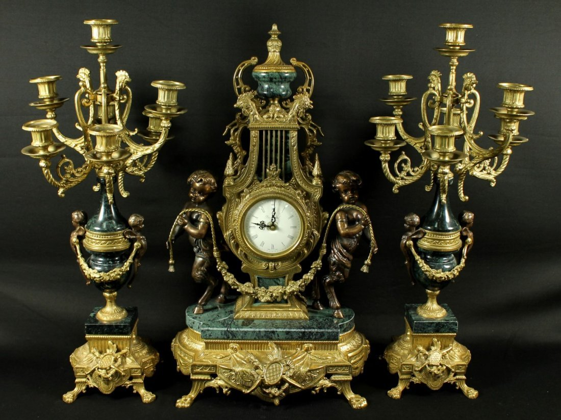 3 PC. LARGE BRONZE AND MARBLE CLOCKSET