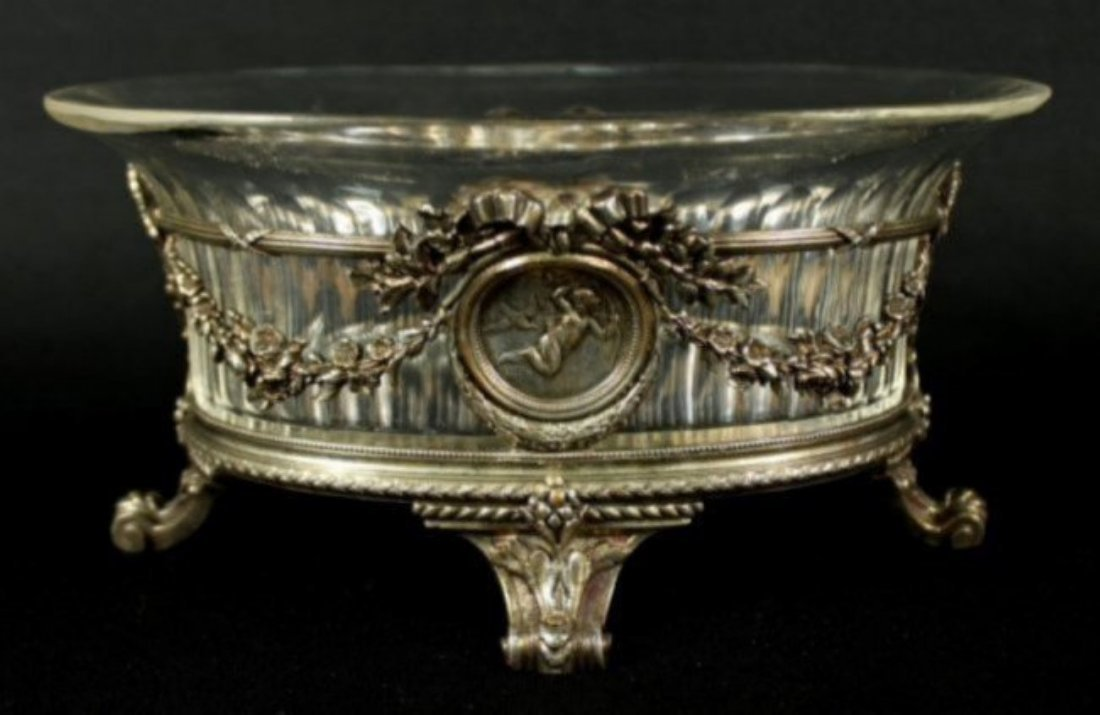 STERLING SILVER CENTERPIECE WITH GLASS INSERT