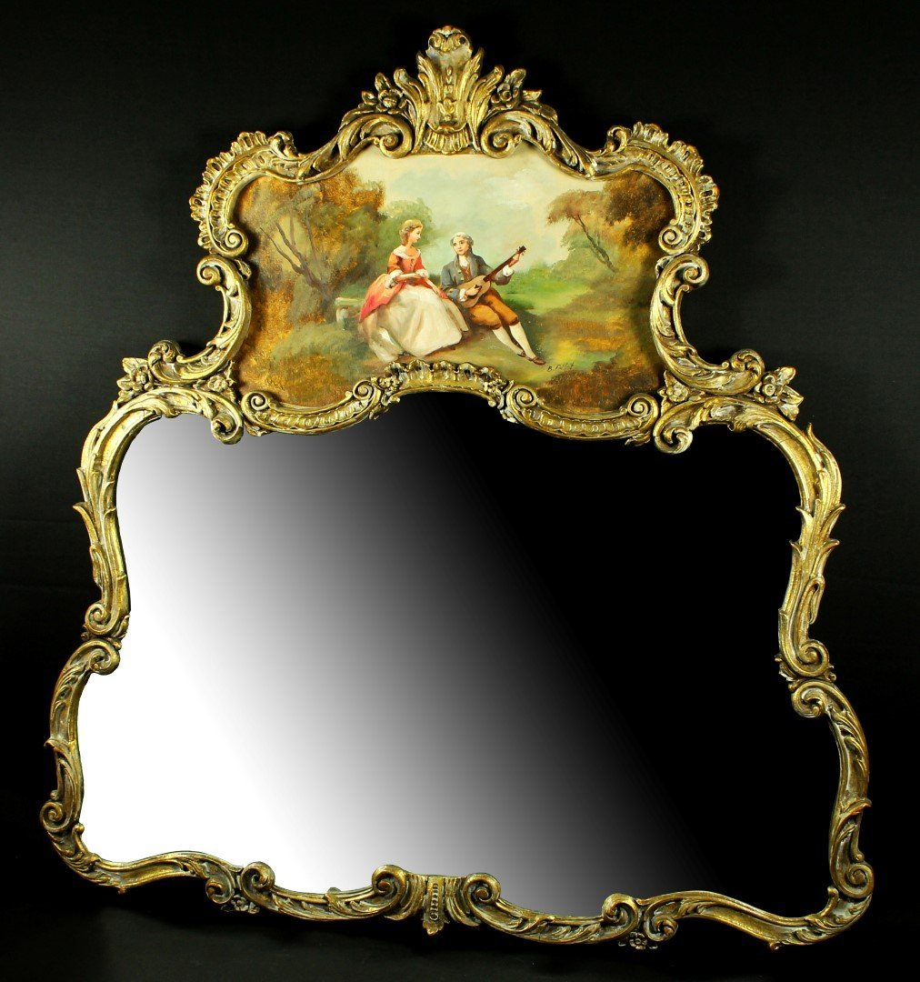 19TH C. FRENCH ENAMEL AND GILT MIRROR