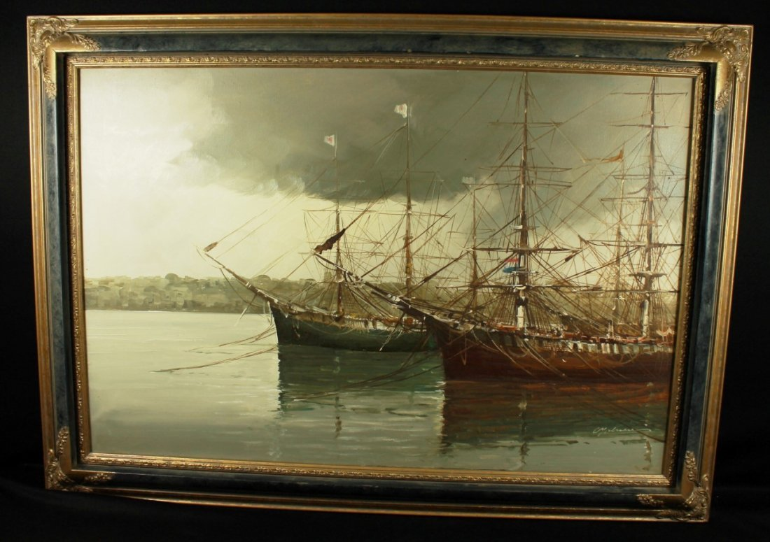 OIL ON CANVAS PAINTING OF 2 SHIPS