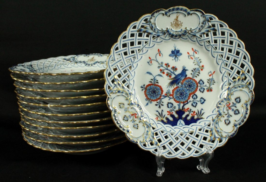 SET OF 12 MEISSEN RETICULATED DESSERT PLATES
