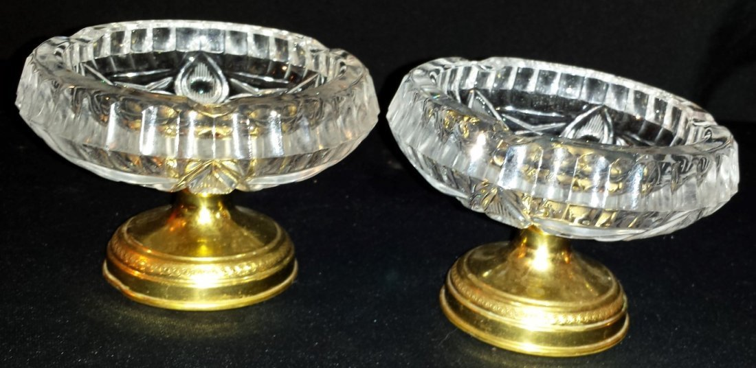 PAIR OF ANTIQUE BRONZE AND CUT GLASS TAZZAS