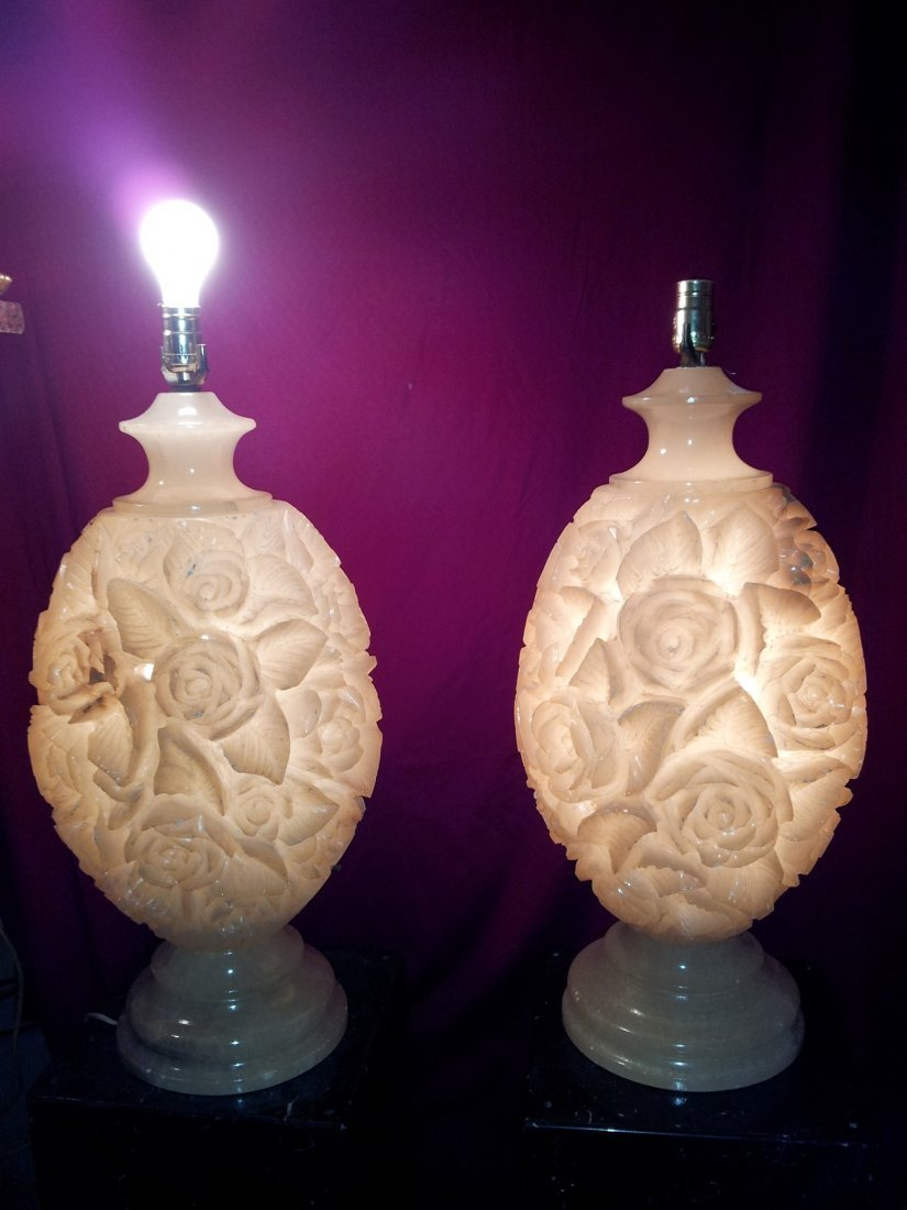 A large pair of 19th century alabaster Carved lamps