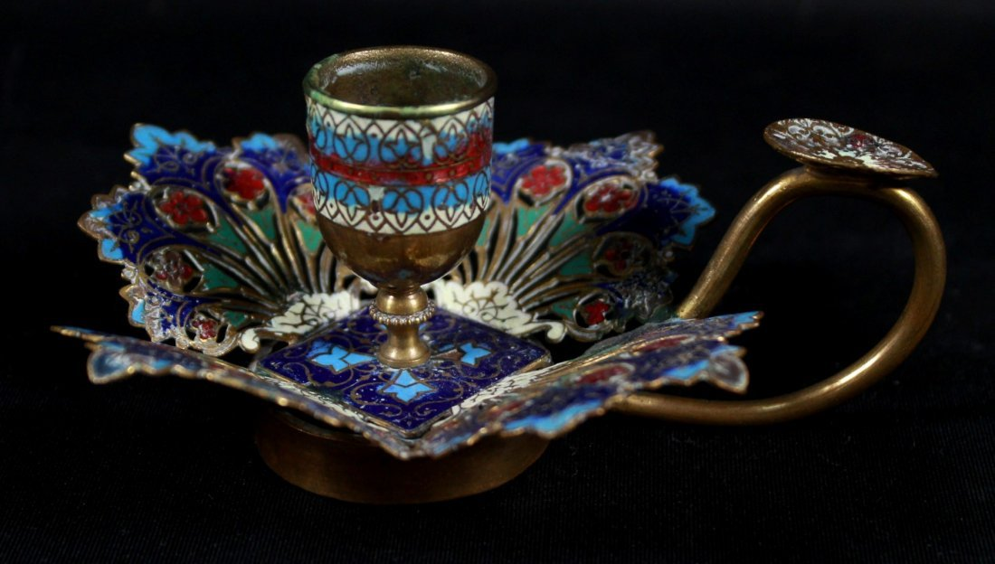 VIENNESE ENAMEL CANDLE HOLDER