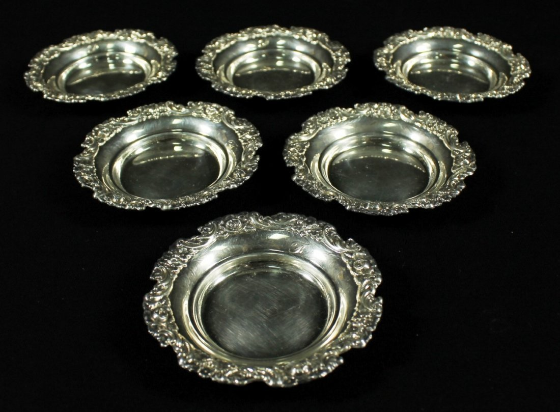 SET OF 6 STERLING NUT DISHES