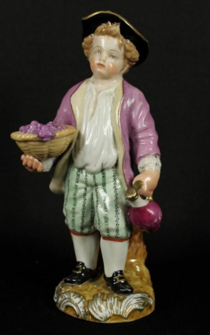 Exquisite Meissen Figurine - A Boy Representing Autumn