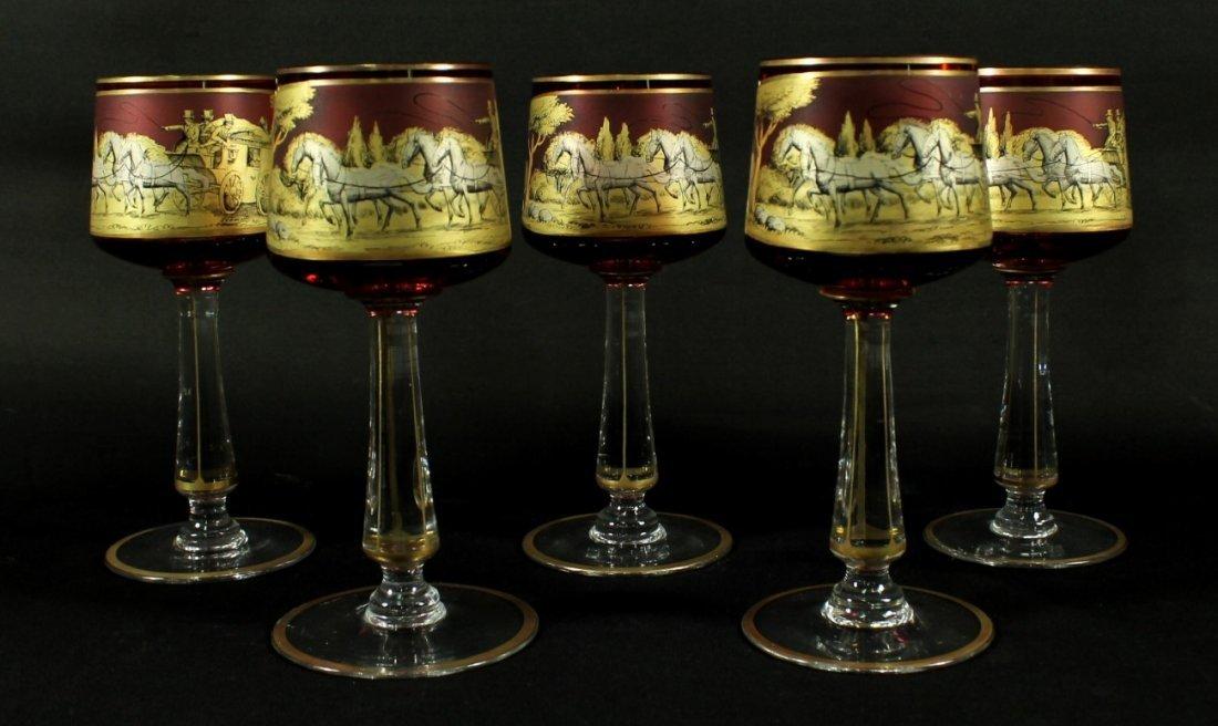 SET OF 5 MOSER CRANBERRY WINE GLASSES