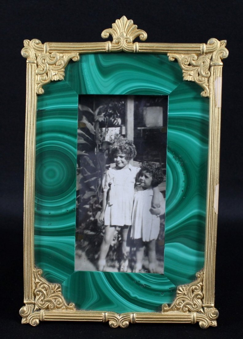 ANTIQUE GILT AND MALACHITE PICTURE FRAME OF 2 YOUNG