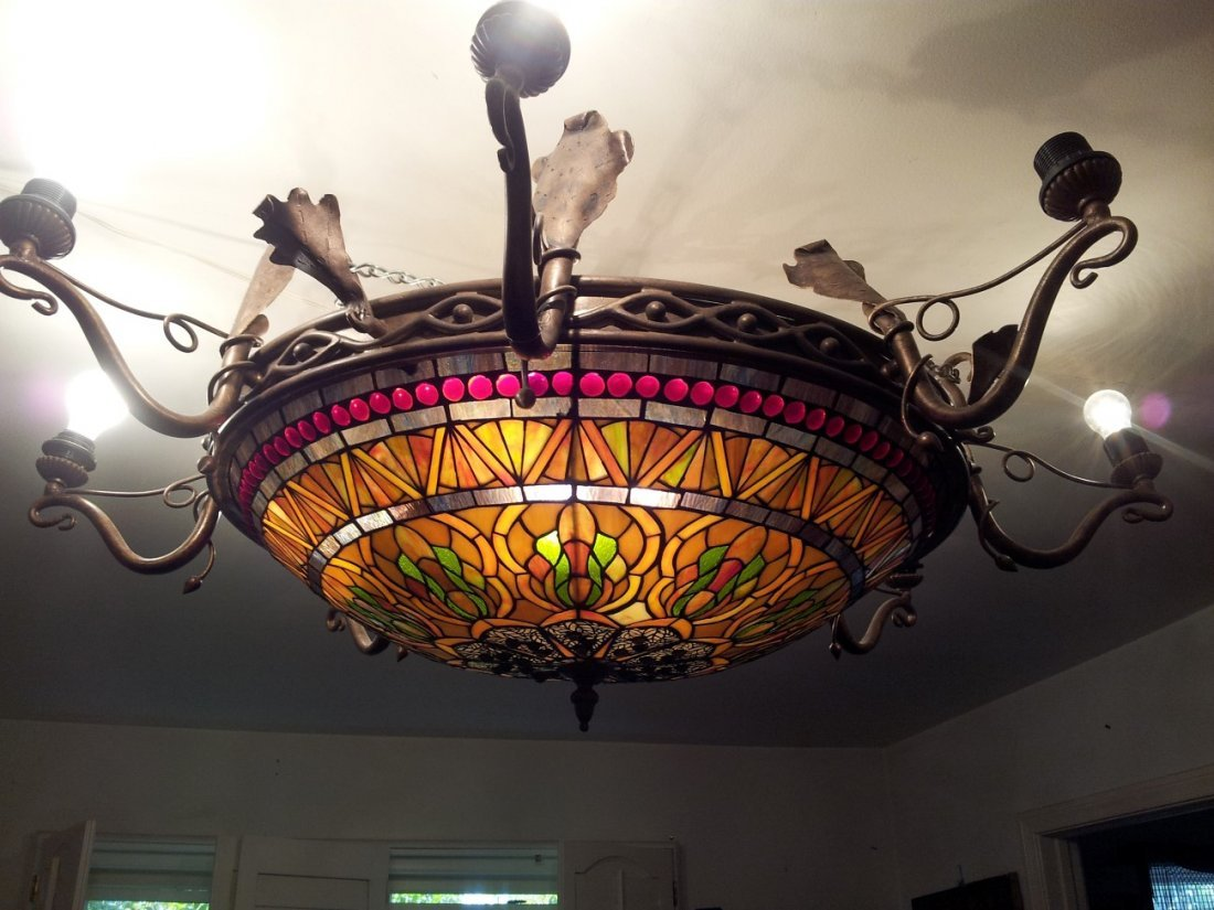 A large stained glass chandelier, art nouveau style