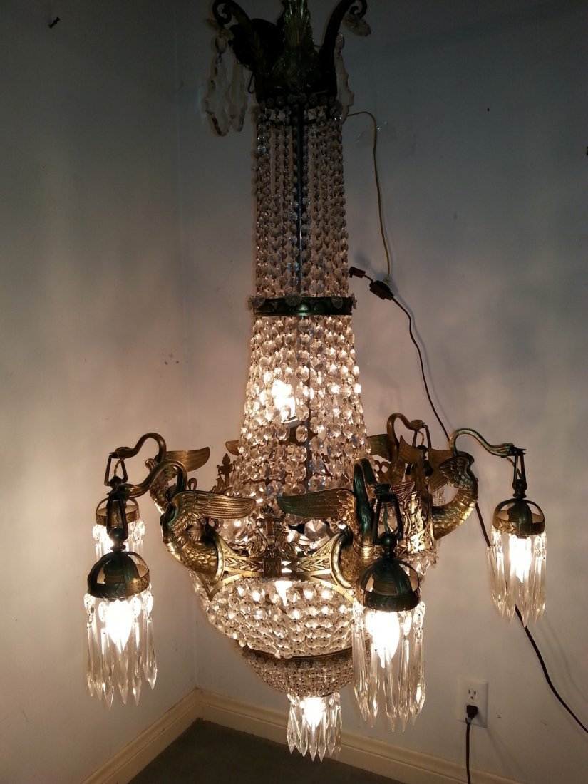 19th Century large empire bronze and crystal chandelier