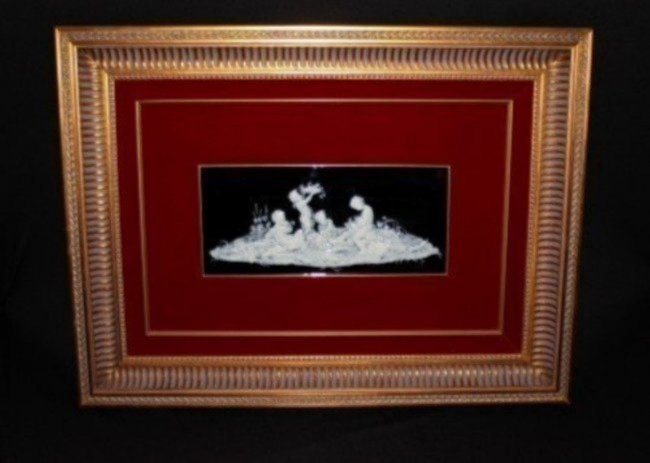 FRAMED PATE SUR PATE PLAQUE OF CHERUBS SIGNED