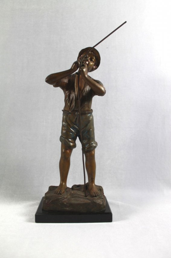 GERMAN BRONZE FIGURE OF BOY WITH ROPE