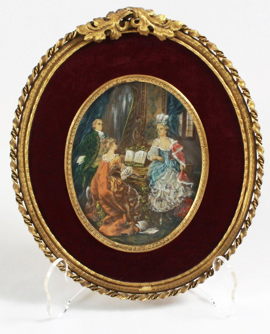 BRONZE FRAME WITH MINIATURE PORTRAIT  ON IVORY