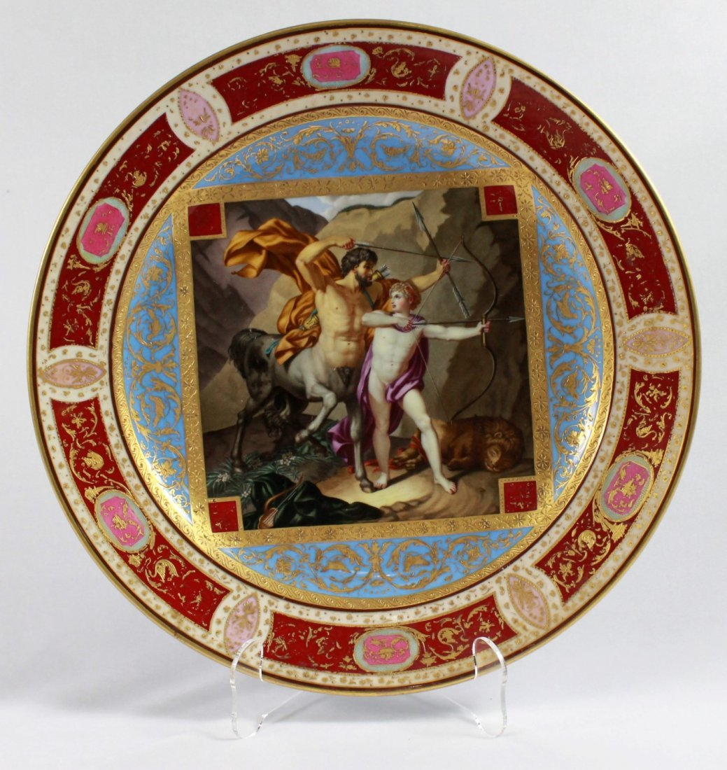 19TH C, VIENNA  STYLE PORCELAIN CHARGER