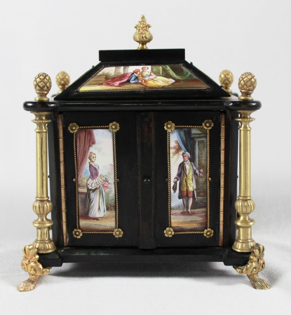 AUSTRIAN VIENNESE ENAMEL AND BRONZE MOUNTED EBONY