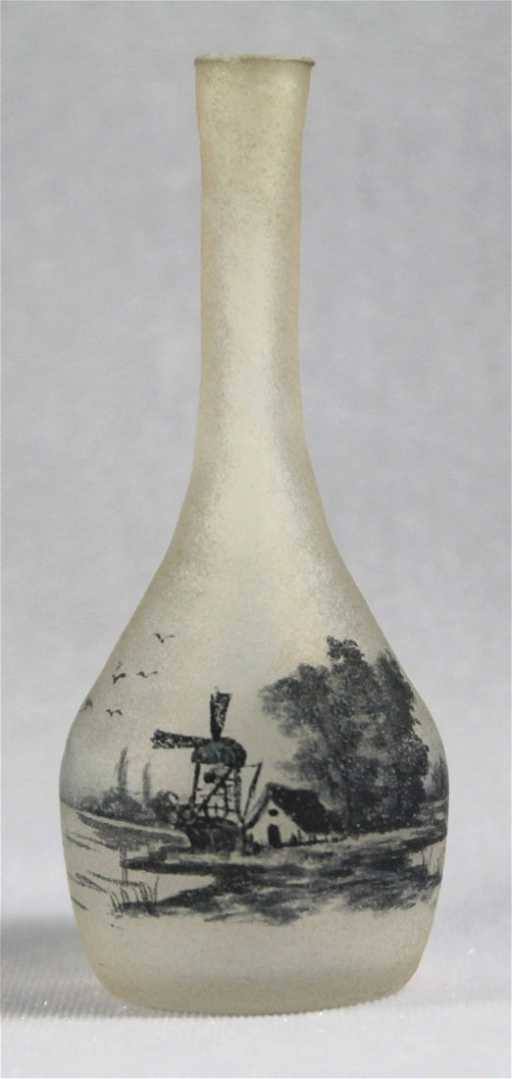 Signed Daum Nancy Stick Vase With Windmills Design