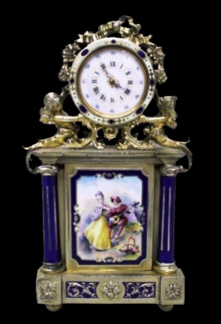 Austrian Enameled And Silver Gilt Clock, C. 1860