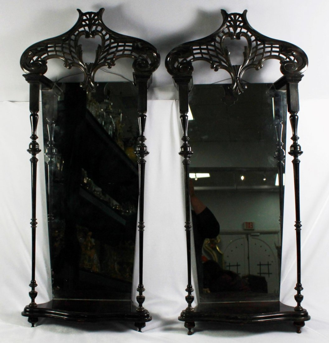 PAIR OF VICTORIAN MIRRORED SHELVES