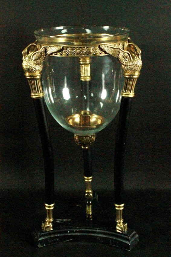 EMPIRE STYLE BRONZE AND GLASS CENTERPICE WITH MARBLE