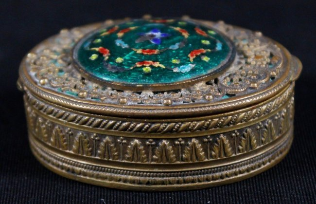 ENAMEL AND BRONZE POWDER BOX