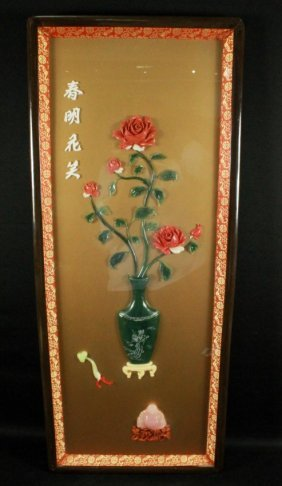 "Framed Chinese Jade ""smiling In Spring"""