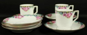 Set Of German Porcelain Cups And Saucers