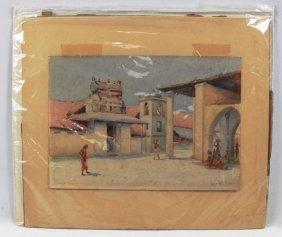"Indian Watercolor Signed ""edwin Koch"" Circa 1910"" No"