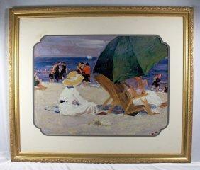 Framed Print Of Umbrellas On Beach, Edward Henry