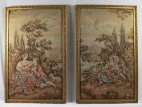 "Pair Of French Handmade "" Love Scene"" Tapestry"