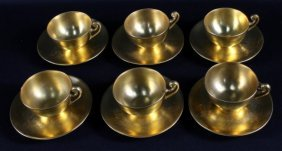 Set Of 6 Of German Painted Porcelain Cups And Saucers