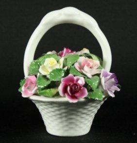 Antique Aristocrat Hand Painted Porcelain Flower Basket