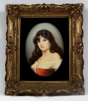 Antique Berlin (k.p.m.)porcelain Portrait Plaque