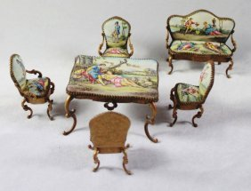 Viennese Enamel Miniature Furniture Set