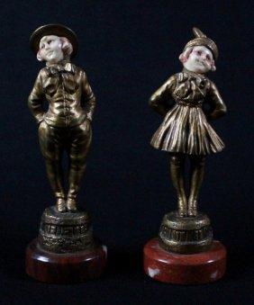 Gomer Rin Tin-tin Bronze Sculptures Of A Girl And Boy