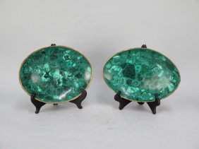 Pair Of Malachite Oval Shallow Bowls