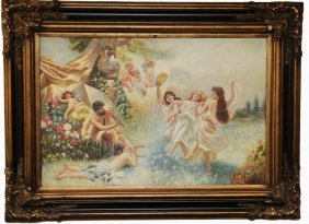 Dancing Maidens With Cherubs And Musicians