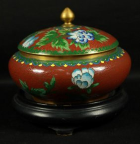 Cloisonne Bowl With Cover On Wooden Base.