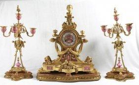 19th C French Gilt Brass Mantel Clock Set